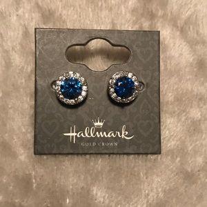 Halo Sapphire studs, 2 sterling silver earrings